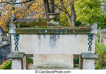 Tomb of Moliere in Pere Lachaise Cemetery