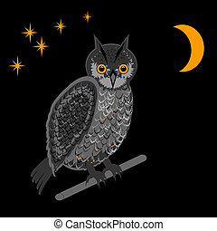 An owl in the nighttime Vector-art illustration