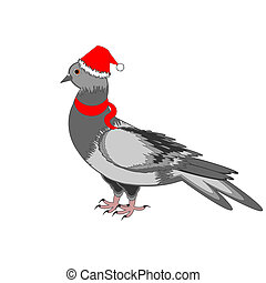 A Christmas dove on a white background. Vector-art...