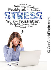 Business woman is sitting under stress emotions bubble in...