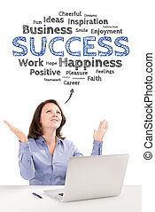 Business woman is sitting under success emotions bubble in...
