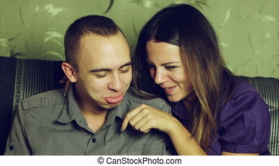 Playful quarrel and reconciliation - Couple in quarrel and...