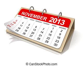 Calendário, -, novembro, 2013