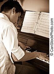 鋼琴, 人, 玩, 亞洲人