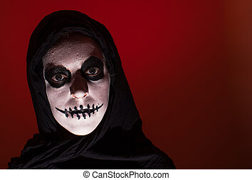 Scary skull woman red background - Scary skull woman with...