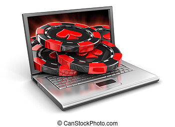 Laptop and Casino chips