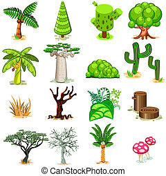 Tree Vector illustration Collection - Various Green,...