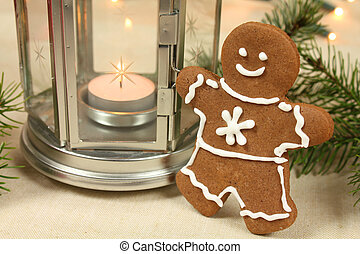 Gingerbread man - Gingerbread cookie man. Christmas table...