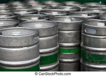 Barrels - Lots of metal barrels at a beer factory