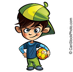 Naughty boy holding a football ball - Naughty boy wearing a...