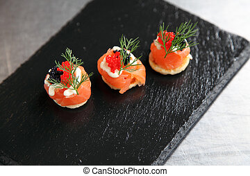 Smoked salmon canap - A selection of gourmet and elegant...
