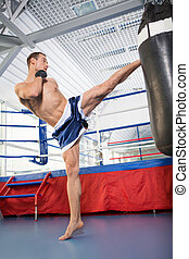 Boxer. Confident young kickboxer training at the punching...