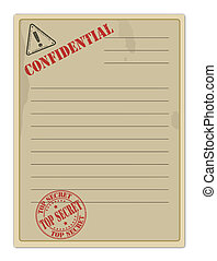 Old Top Secret Document on white, vector illustration