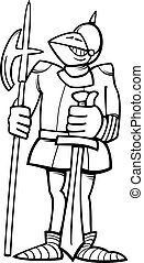 knight in armor cartoon coloring page - Black and White...