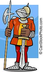 knight in armor cartoon illustration - Cartoon Illustration...
