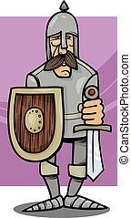 knight in armor cartoon illustration - Cartoon Illustration...