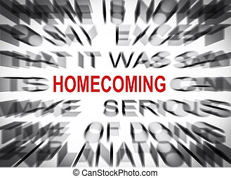 Blured text with focus on HOMECOMING