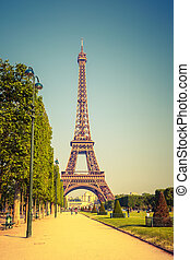Eiffel Tower at sunny day, Paris