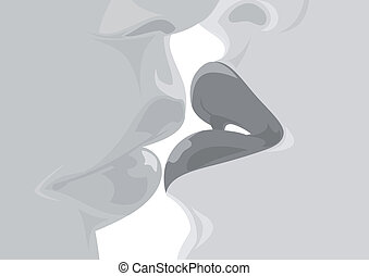 Kissing lips - Illustration of kissing man and woman