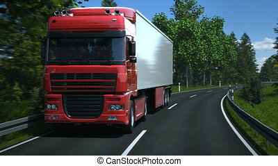 Truck driving along country road