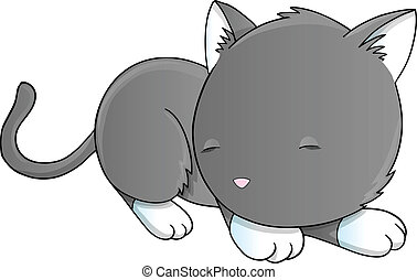 Sleeping Cat Kitten Vector Art - Sleeping Cat Kitten Vector...