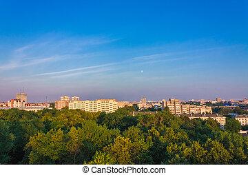 Minsk (Belarus) City Quarter With Green Parks Under Blue Sky