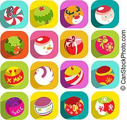 flat christmas icons objects collection detailed vector...