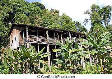 Traditional Borneo Native House - Image of a traditional...