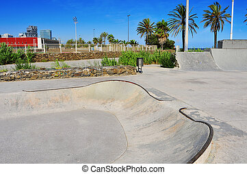 urban skatepark in Barcelona, Spain - view of a urban...
