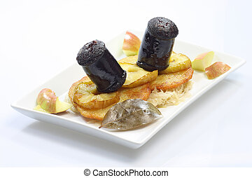 Black Pudding with apple slice potato pancake and...