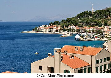 Birdview of Podgora in Croatia - Birdview of Podgora with...