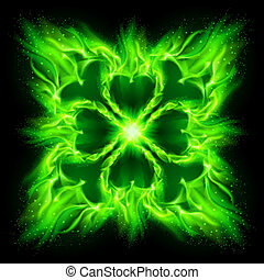 Fire Gothic pattern. - Green fire Gothic pattern on black...