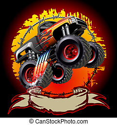 Cartoon Monster Truck One-click repaint Available EPS-10...