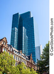 Contrast of an old building and a skyscraper in Frankfurt, Germany