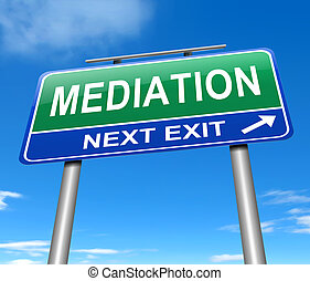 Mediation concept. - Illustration depicting a sign with a...