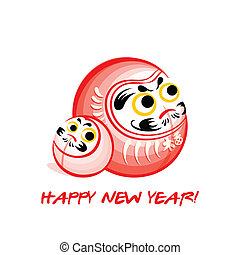 Daruma New Year card - Japanese Nengajo New Year card with...
