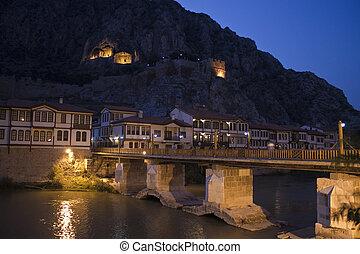 otomano, Casas, viejo, tumbas, Amasya