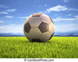 Soccer Ball - Soccer ball on the field With clipping path on...