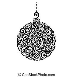 Black and White Christmas ball with a floral design. Many...