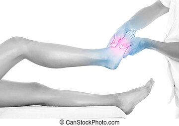 Leg therapy - A picture of a physio therapist giving a foot...