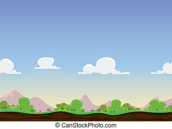 Seamless Spring Landscape - Illustration of a cartoon...