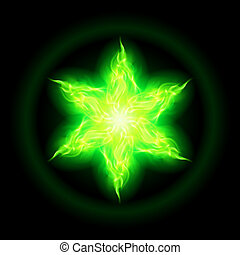 Green fire star - Illustration of green fire hexagram star...