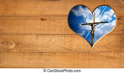 I Love Jesus - Crucifixion - Wooden wall with a hole in the...