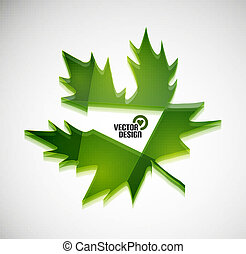 Vector 3d green glossy leaf