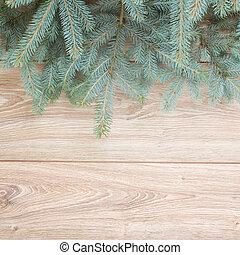 fir tree border - blue fir tree border on wooden background...