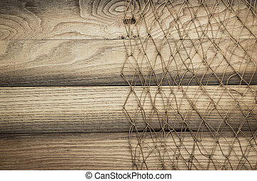 wooden background texture and fishing net - wooden...