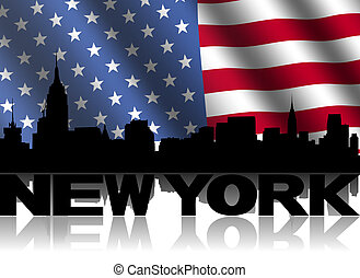 New York skyline and text reflected with rippled American...