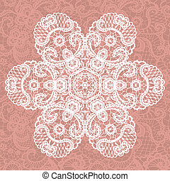 Elegant lacy doily Vector snowflake - Vector template...