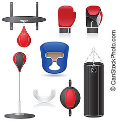set icons of equipment for boxing vector illustration...