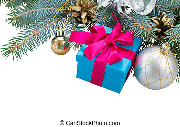 fir tree branch,  decorations and gift box
